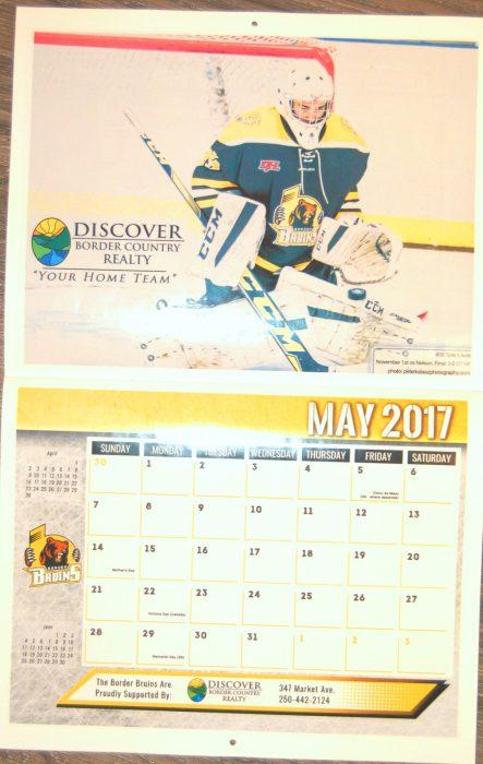 border bruins, 2017, calendar, tyler loura, goalie